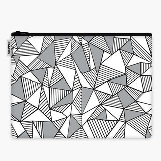 SpaceSuit - Document Pouch - Abstraction Lines With Grey Blocks