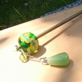 Grapefruit Forest Handmade Glass - Hairpin - Flower Wish - Green Elf