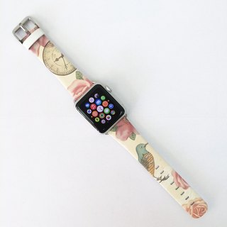 Apple Watch Series 1 , Series 2 & Series 3 - Vintage Floral Bird Printed on Genuine Leather for Apple Watch Strap Band 38 / 42 mm - 23