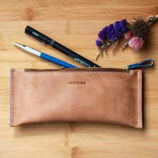 [Zipper pencil / long zipper bags of small objects] ZiBAG-022 / tea colors (blue oil side)