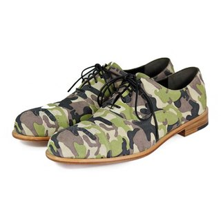 Spurge Laurel M1124 Camo Green leather oxford shoes