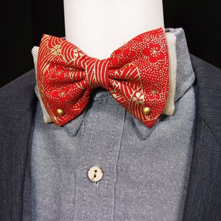 Chinese red vine flower pattern bow tie