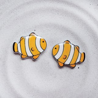Clownfish handmade cute earrings anti-allergic ear pin painless ear clip
