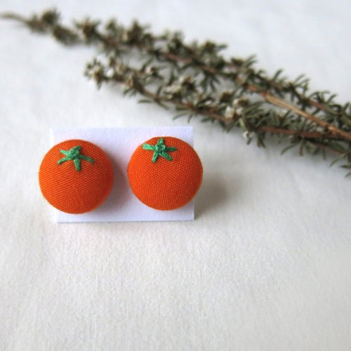 Orange cloth embroidered earrings section