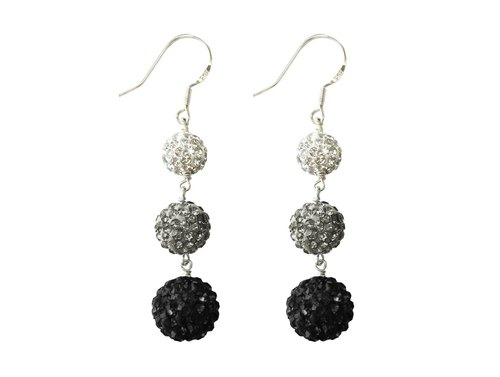 Swarovski Crystal Balls Earrings - Silver, Grey and Black