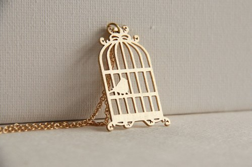 Golden Bird and Birdcage Pendant Jewelry / Hand Craft Necklace / Vintage Style Brass