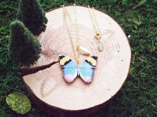 Butterfly Necklace BL / wood necklace wooden necklace series