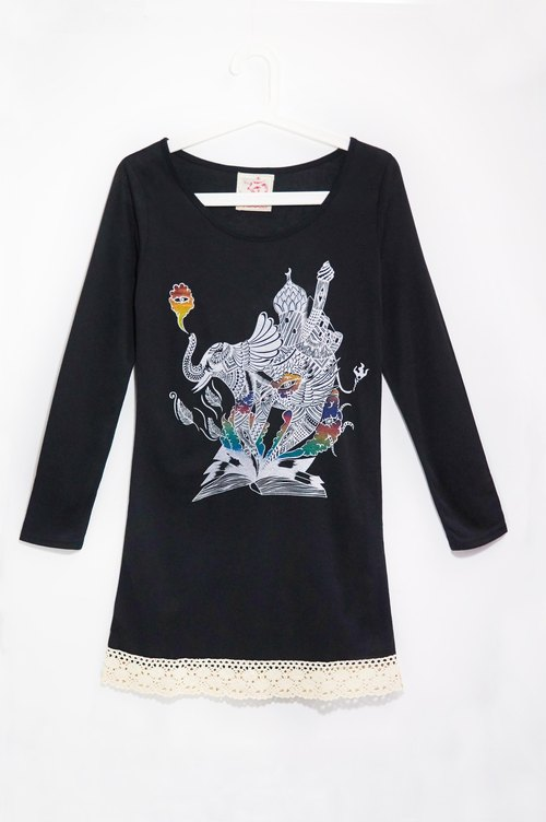 Feel-sleeved lace dress hem travel T- Indian elephant (black)