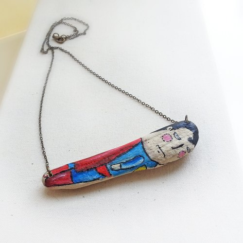 Wood Series Necklace -Superman
