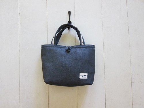 Lace Series - Small denim Danni Bu Tote (wood buckle opening paragraph) - dark gray ash +