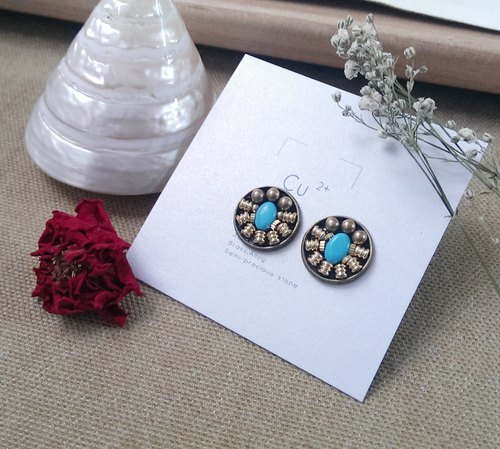 Exclusive design handmade jewelry box earring (pair) / engraved lines turquoise