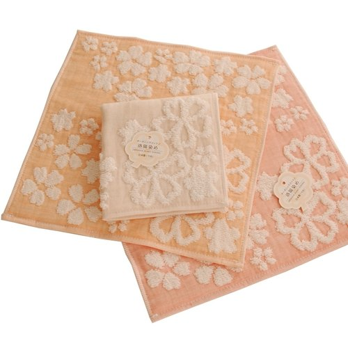 "Earth tree handmade fair trade - ""organic cotton Series"" - perfect Nippon Luoyang dyed organic cotton small handkerchief - cherry (pink, orange two kinds)"