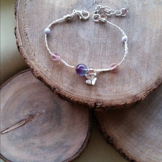Knit with love Purple fluorite with silver orchid hand-woven silver bracelet