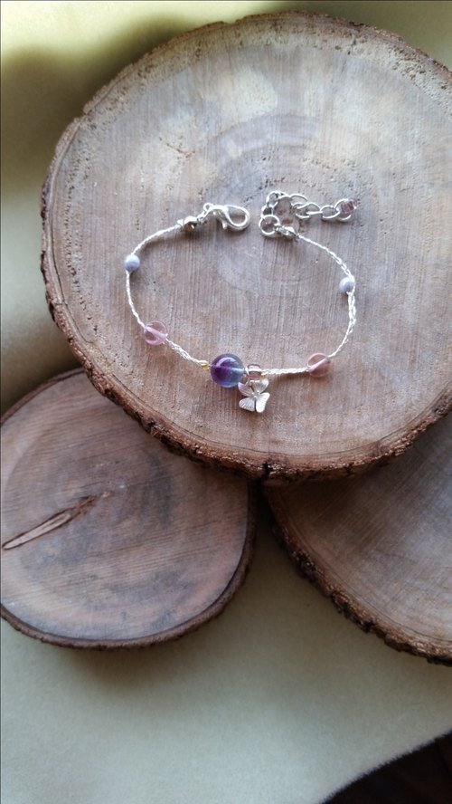 Knit with love purplish blue with silver orchid fluorite silver bracelet hand-knitted ♡