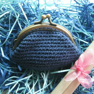 Minibobi hand-woven - bronze Qiaoqiao mouth gold bag / purse - Ocean Blue