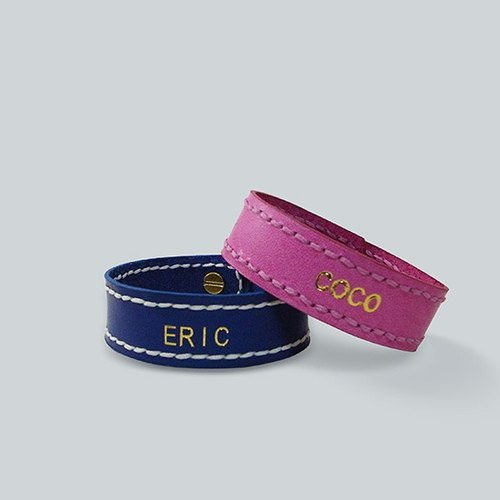 [Valentine's Day] leather bracelet · Customized name (one pair)