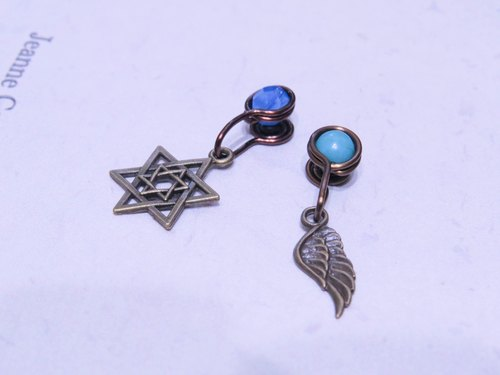Wing Wing Hand-made jewelry clip-on earrings made (wings, stars, music, cross)
