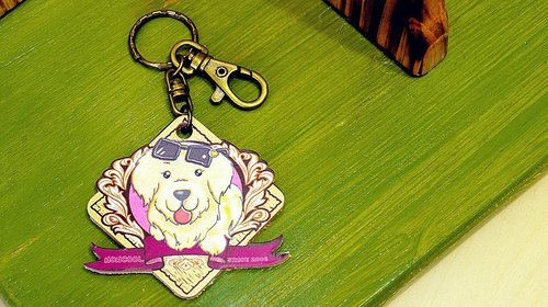 "[Charity care goods] ""NONCOOL‧ Cool farming"" new golden retriever * leather key ring"