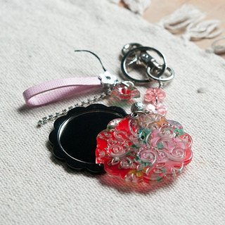 Peony Chinese dance, makeup mirror, key ring, strap dual - Red