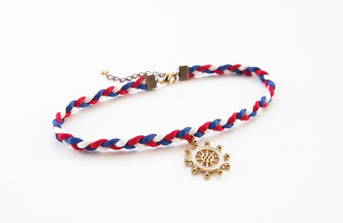Tri-color braided choker/necklace with nautical charm