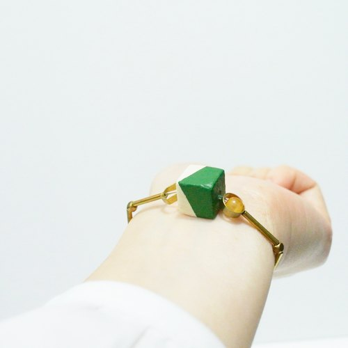 Christmas green painted wood grain square brass Elastic Bracelet