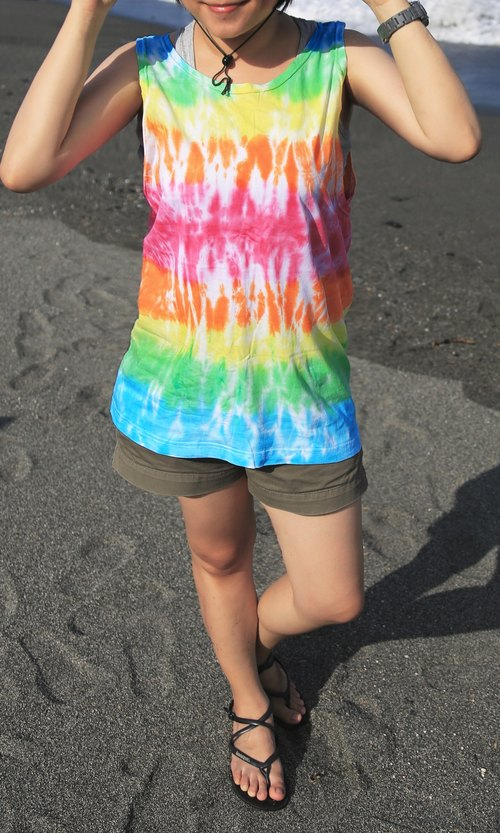 Hand-dyed tie-dye tie dyed cotton Long Vest