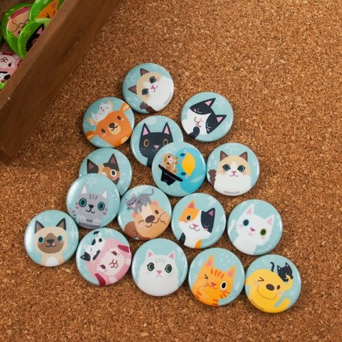 Small round badges: Cat Party Series - 16 kinds of color (can be picked paragraph)