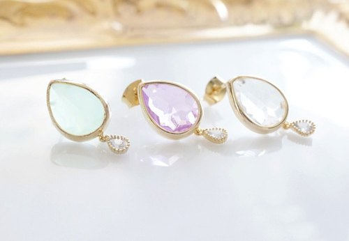 [16KGP] Stud Earrings, 16KGP Tiny CZ, Double Teardrop