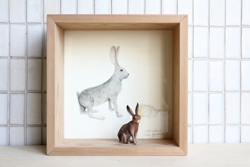 [Painting, animal AnimalPaintingCollection] box decorated - Hare / small rectangular
