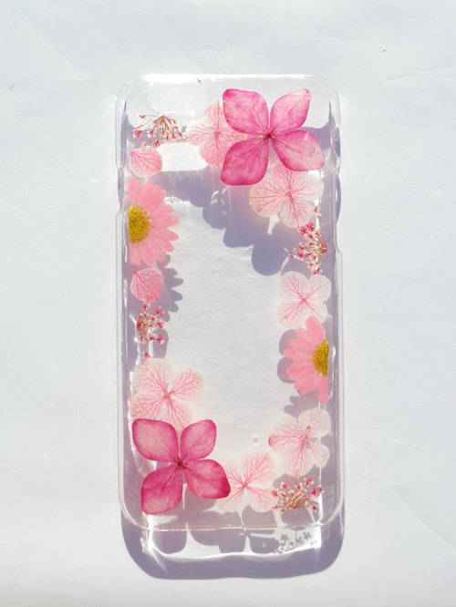Anny's workshop hand-made pressed flower phone case, beautiful photo frame (pink)
