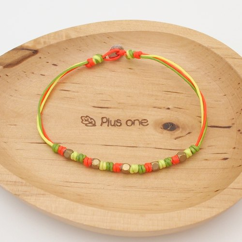 Silk rope wax vs. copper beads bracelet - three strands Leis version [LEEART] ♥ basic models can be customized ♥ OldNew Lady