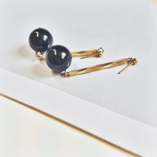 Marygo ﹝ black Shuiyu gold earrings ﹞