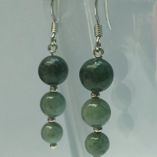 EJ0002 - own design and manufacture - fashion generous gift of choice - natural stones -Jade (pea green species) earrings