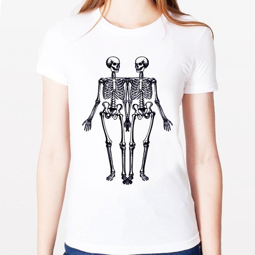 Skeleton Girl T-shirt -2 color skeleton bone skull art design funky green paper text fashion