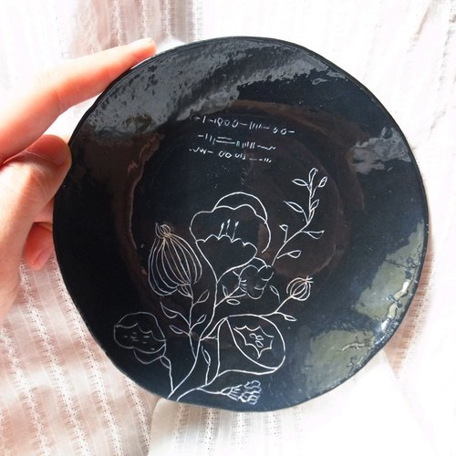 Poetic Dessert hand carved flower-painted pottery tea tray