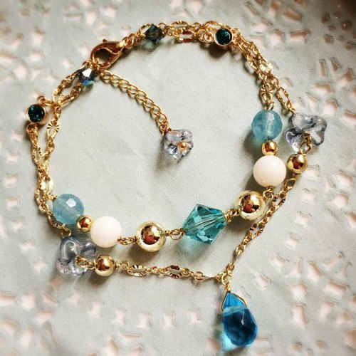 [Atelier A.] Christmas Collection Classic Double Chain Crystal Bracelet (Peacock Blue peacock)