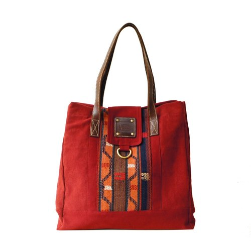 [Happa] personality Cikou tote bag - Hand knotted kilim paragraph (Wine Wine Red) Required generous exchange of gifts the most convenient storage bag