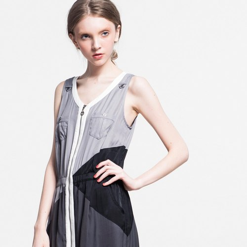 Color stitching vest dress - gray -S number NOVI