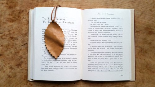 Personalized Leaf Leather Bookmark/Luggage Tags/Card - hand stamped with phrase or quote of your choice