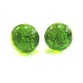 Transparent bright green glass earrings silver jewelry (spring a good match)