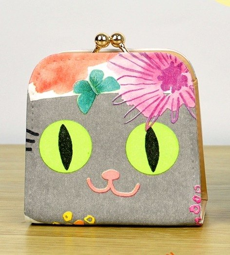 Handmade Christmas gift - gray cat mouth gold purse