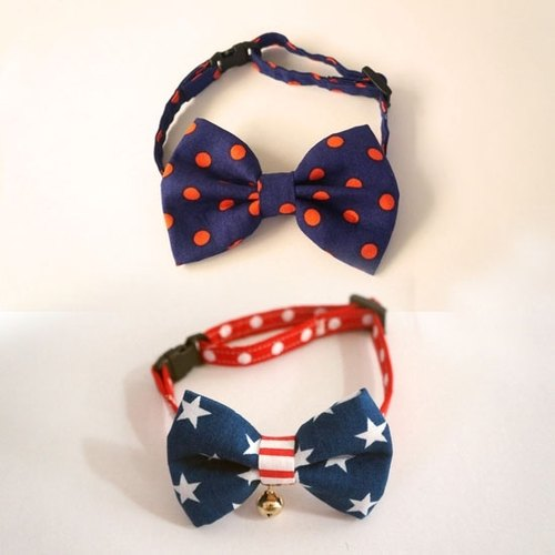 Miya ko.] Handmade cloth grocery cats and dogs tie / tweeted / bow / cute little USA / wind / pet collars ((((I want two bands together))