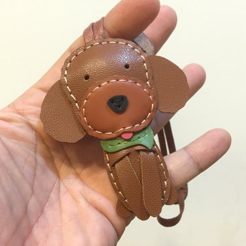 } {Leatherprince handmade leather brown cute poodle MIT Taiwan pure hand-stitched leather strap / Pudding the Poodle cowhide leather charm in Brown (Small size / small size)