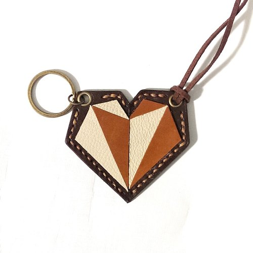 Small leather small leather Genki gas RE: Lz - puzzle concept. Geometric Heart [handmade leather mood one couple] dual jewelry - neck strap or key ring