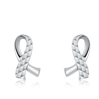 Hong Kong Design 14K / 585 white gold net gold earrings