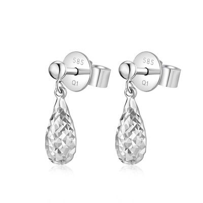 Hong Kong Design 14K / 585 white gold net gold teardrop-shaped Drop Earrings