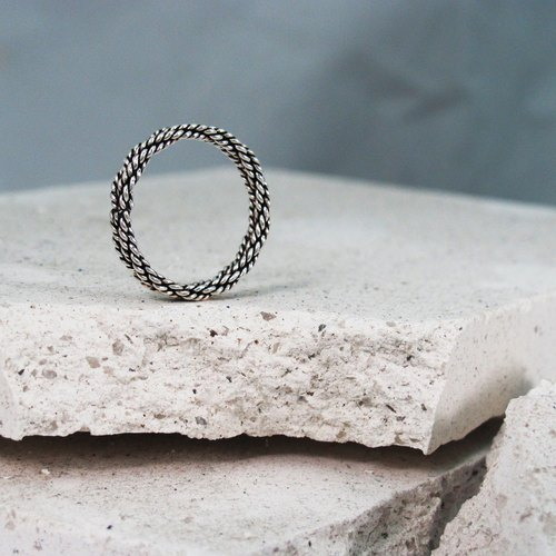 Twist ring - type sportsman rope twist ring 925 sterling silver rings silver -ART64