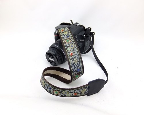 Camera strap can print personalized custom leather stitching national wind embroidery pattern 032