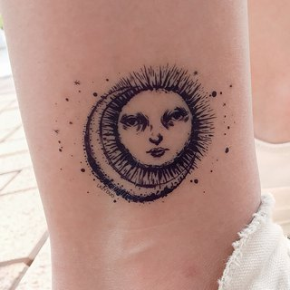 Sun and Moon Temporary Tattoo Sticker Tarot Alchemist Blue BLACK Sexy Party Fake
