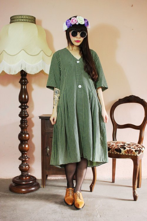 F1084 (Vintage) dark blue green plaid short-sleeved vintage dress